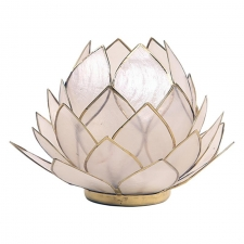 Otsas! Lootoseõie kujuline teeküünla alus SUUR, naturaalsed kroonlehed kuldses raamis Ø 15 cm