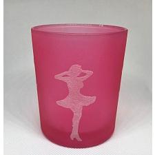 """Küünla klaas """"Merilyn Monroe"""" 6x5 cm, valge figuur helepunasel,  kuumakindel"""