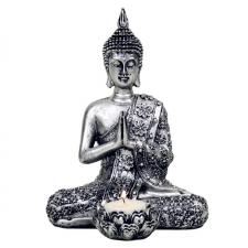"""Küünla hoidja """"Buddha"""" hõbedane, teeküünlale, kõrgus 20.5cm"""