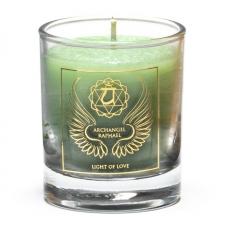 """Naturaalne imeliselt sädelev lõhnaküünal klaasis """"Peaingel Raphael - armastuse valgus"""" steariinist 4,5x4 cm"""