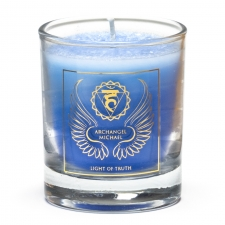 """Naturaalne imeliselt sädelev lõhnaküünal klaasis """"Peaingel Michael - tõe valgus"""" steariinist 4,5x4 cm"""