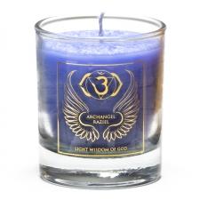 """Naturaalne imeliselt sädelev lõhnaküünal klaasis """"Peaingel Raziel - jumaliku tarkuse valgus"""" steariinist 4,5x4 cm"""