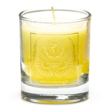 """Naturaalne imeliselt sädelev lõhnaküünal klaasis """"Peaingel Jophiel - meelerahu valgus"""" steariinist 4,5x4 cm"""