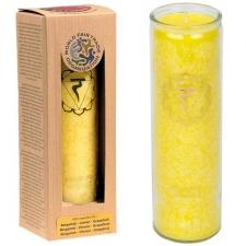 """Küünal klaasis """"Manipura – tahtejõud, enesekindlus"""" 21x6.5 cm, lõhnanauding eeterlikest õlidest: bergamot, sidrun, greip"""
