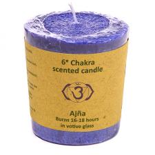 """Naturaalne lõhnaküünal """"Ajna chakra - tarkus ja selgeltnägemine"""" palmivahast 4,5x4 cm"""