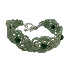 Heleroheline käevõru rohelise malahhiidiga, mikromakramee käsitöö