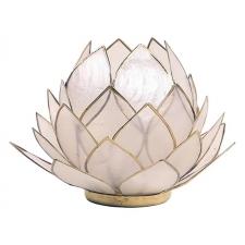 Lootoseõie kujuline teeküünla alus SUUR, naturaalsed kroonlehed kuldses raamis Ø 15 cm