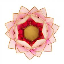 OTSAS! Lootoseõie kujuline teeküünla alus SUUR, roosad kroonlehed kuldses raamis Ø 15 cm