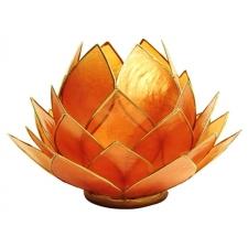 OTSAS! Lootoseõie kujuline teeküünla alus SUUR, oranzid kroonlehed kuldses raamis Ø 15 cm