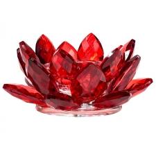 OTSAS! Lootoseõie kujuline küünla alus kristallklaasist, punane Ø 11cm