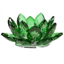 Lootoseõie kujuline küünla alus kristallklaasist, roheline Ø 11cm