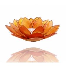Lootoseõie kujuline teeküünla alus, oranzid kroonlehed Ø 13.5 cm