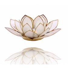 Lootoseõie kujuline teeküünla alus, naturaalsed valged kroonlehed kuldses raamis Ø 13.5 cm