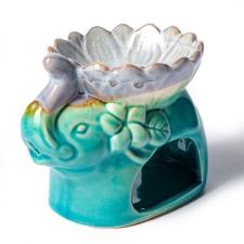 Keraamiline lõhnalamp  eeterlikule õlile  ja vahale türkiis elevandike