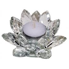 Lootoseõie kujuline küünla alus kristallklaasist, läbipaistev puhas kristall Ø 11cm
