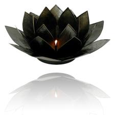 Lootoseõie kujuline teeküünla alus, mustad kroonlehed kuldses/hõbedases raamis Ø 13.5 cm