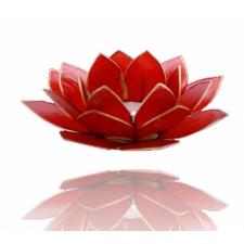 Lootoseõie kujuline teeküünla alus, punased kroonlehed kuldses raamis Ø 13.5 cm
