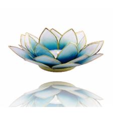 Lootoseõie kujuline teeküünla alus, sinised kroonlehed kuldses raamis Ø 13.5 cm