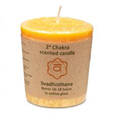 """Naturaalne lõhnaküünal """"Chakra nr2 - nauding, seksuaalsus ja tunded"""" palmivahast 4,5x4 cm"""