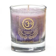 """Naturaalne imeliselt sädelev lõhnaküünal klaasis """"Peaingel Gabriel - selguse valgus"""" steariinist 4,5x4 cm"""