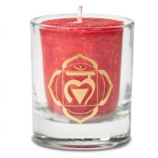 """Naturaalne lõhnaküünal klaasis """"Muladhara chakra - füüsiline jõud"""" 4,5x4 cm kinkekarbis"""
