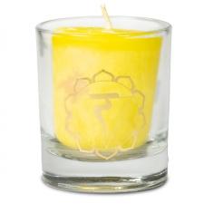 """Naturaalne lõhnaküünal klaasis """"Manipura – tahtejõud, enesekindlus"""" 4,5x4 cm kinkekarbis"""
