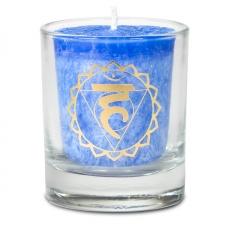 """Naturaalne lõhnaküünal klaasis """"Vishudi – loovus, eneseväljendus"""" 4,5x4 cm kinkekarbis"""