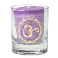 """Naturaalne lõhnaküünal klaasis """"Sahasrara – vaimsus, spirituaalsus"""" 4,5x4 cm kinkekarbis"""