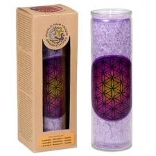 """JÄLLE SAADAVAL! LEMMIK! Looduslik küünal klaasis """"Elulill"""", lilla lõhnastatud eeterlike õlidega 21x6.5 cm"""