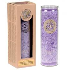 """JÄLLE SAADAVAL, LEMMIK!  Küünal klaasis """"Sahasrara – vaimsus, spirituaalsus"""" 21x6.5 cm, lõhnanauding eeterlikest õlidest: mägiroos, patchuli, frankincense"""