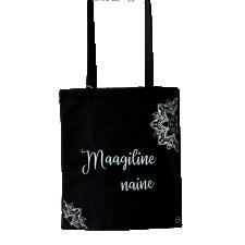 Poekott MAAGILINE NAINE 38x42cm 100% puuvill hõbemandalaga