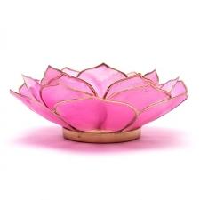 Lootoseõie kujuline teeküünla alus, roosad kroonlehed kuldses/hõbedases raamis Ø 13.5 cm